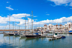 Agadir city, Morocco. Boats at the Marina harbour in Agadir. Agadir is a major city in Morocco located on the shore of the Atlantic Ocean, near the Atlas Royalty Free Stock Photos