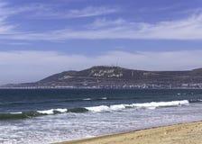 Agadir. Main sand beach and moutain , Morocco Stock Photos