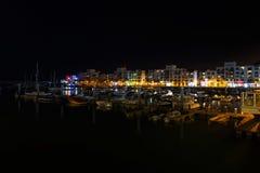 Agadir marina på natten Arkivbild