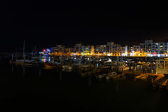 Agadir marina przy nocą Fotografia Stock