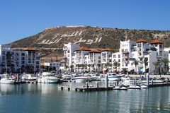 Agadir marina. View on marina and old town on hill of Agadir in Morocco Stock Images