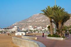 AGADIR, MAROC - 15 DÉCEMBRE 2017 : Promenade de bord de mer d'Agadir, Images stock