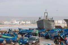 AGADIR MAROCKO - DECEMBER 15, 2017: Port av Essaouira från Fotografering för Bildbyråer