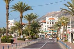AGADIR MAROKO, GRUDZIEŃ, - 15, 2017: Agadir nadbrzeża deptak, Zdjęcia Royalty Free