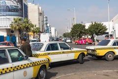 AGADIR MAROKO, GRUDZIEŃ, - 15, 2017: Taxi stojak w Agadir, Moro Obrazy Stock