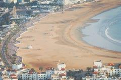 Agadir powietrzny panoramiczny widok od Agadir Kasbah Agadir fortu Obraz Stock