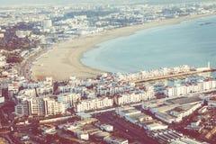 Agadir powietrzny panoramiczny widok od Agadir Kasbah Agadir fortu Obraz Royalty Free