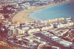 Agadir powietrzny panoramiczny widok od Agadir Kasbah Agadir fortu Obrazy Stock