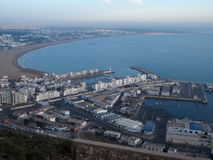 AGADIR travel city landscape in Morocco. With white buildings on cityscape and beach at Atlantic Ocean at evening in 2016 winter day - aerial view, Africa on Stock Photo