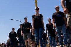Agains de la protesta que matan a granjeros en Suráfrica Foto de archivo libre de regalías