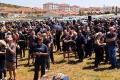 Agains de la protesta que matan a granjeros en Suráfrica Imagenes de archivo