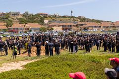 Agains de la protesta que matan a granjeros en Suráfrica Fotografía de archivo libre de regalías