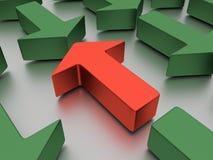 Agains verdes das setas vermelho isolado em um plano branco espelhado ilustração 3D fotografia de stock royalty free