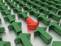 Agains verdes das setas vermelho isolado em um plano branco espelhado ilustração 3D fotografia de stock
