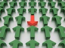 Agains verdes das setas vermelho isolado em um plano branco espelhado ilustração 3D imagem de stock