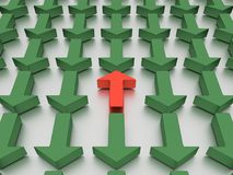 Agains verdes das setas vermelho isolado em um plano branco espelhado ilustração 3D imagem de stock royalty free