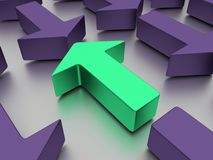 Agains verdes das setas vermelho isolado em um plano branco espelhado ilustração 3D imagens de stock