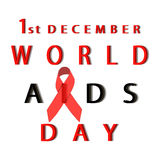 Against AIDS with red ribbon. World day of fight against AIDS with red ribbon Stock Photo