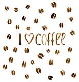 Against the background of coffee beans the inscriptio. N `I love coffee`, watercolor Stock Photo