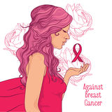 against breast cancer banner, beautiful girl with pink ribbon Stock Image