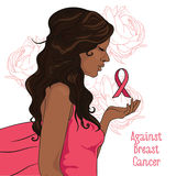 against breast cancer banner, beautiful girl with pink ribbon Stock Images