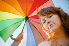 Against Colorful Umbrella Royalty Free Stock Photo