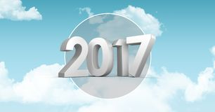 2017 against a composite image 3D of clouds and sky. 2017 against a composite image 3D of clouds and blue sky Royalty Free Stock Photography