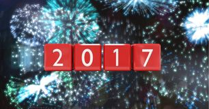 2017 against a composite image 3D of fireworks Royalty Free Stock Photography
