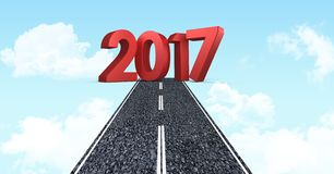 2017 against composite image 3D of road in sky. 2017 new year sign against composite image 3D of road in blue sky Royalty Free Stock Photography