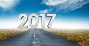 2017 against a composite image 3D of road Royalty Free Stock Images