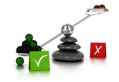 For or Against Concept. Green and red spheres on a seesaw with three black pebbles over white background. Concept image for illustration of for or against Stock Photography