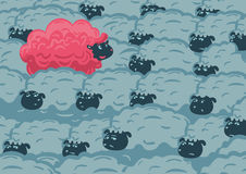Against the crowd. One pink sheep in the group of grey sheep. Individuality concept royalty free illustration