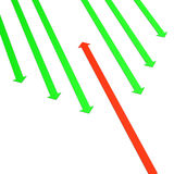 Against The Current. Green arrows and one red arrow on the white background Stock Photos