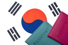 Against the Flag of South Korea are passports. Travel and tourism concept stock images