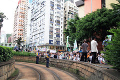 Against government marches in hong kong Stock Photography
