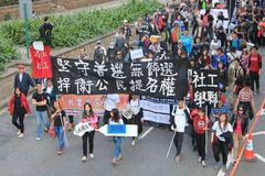 2014 against government marches in Hong Kong Royalty Free Stock Images