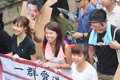 Against government marches in hong kong 2012 Stock Photography