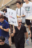 Against government marches in hong kong 2012 Royalty Free Stock Photos