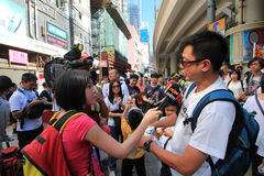Against National Education in Hong Kong Stock Photos