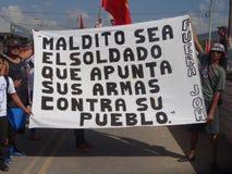 Agaist Juan Orlando numéro 28 de march de protestation de Hernandez le 12 janvier 2018 Image stock