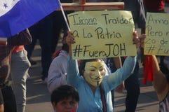 Agaist Juan Orlando numéro 22 de march de protestation de Hernandez le 12 janvier 2018 Photos libres de droits