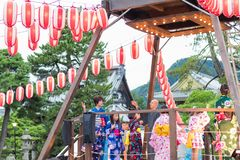 Agano,日本- August 15日2017年:庆祝好的妙语Od的人们 免版税库存图片