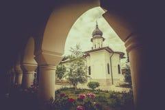 Agapia Orthodox Monastery in Romania. The outdoor architecture of the Agapia orthodox monastery landmark in Romania royalty free stock photos