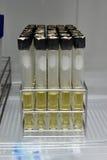 Agar en el estante del tubo de ensayo para el laboratorio de prueba de la microbiología Imagen de archivo