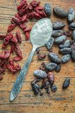 Agar and goji in a spoon Royalty Free Stock Images