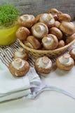 Agaricus bisporus - Fresh raw mushroom champignon wicker baskett Stock Image