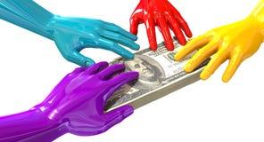 Agarramento colorido das mãos em dólares americanos Foto de Stock