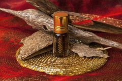 Agarwood oil and incense chips. Agarwood, also called aloeswood, essential oil and incense chips Stock Photos