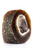 Agat z Kwarcowym Crytal na Białym tle Obraz Stock