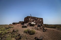 Agata domu ruina przy Osłupiałym Lasowym parkiem narodowym blisko Holbrook zdjęcia royalty free